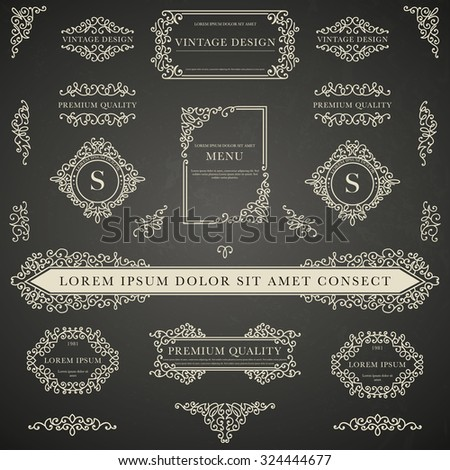 Set of white decorative vintage design elements for label, logo, emblem design on blackboard background - stock vector