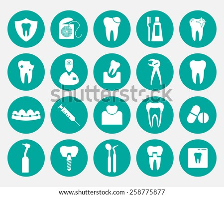 Set of white dental icons in green circles. - stock vector