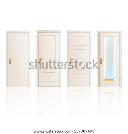 Set of white doors on isolated background. Vector design. - stock vector