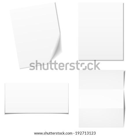 Set of white empty paper sheet, vector eps10 - stock vector