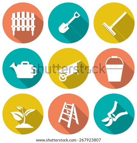 Set of white garden icons. Vector illustration - stock vector