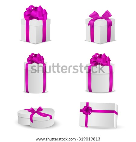 Set of white gift boxes with pink bows and ribbons. Vector EPS10 illustration. - stock vector