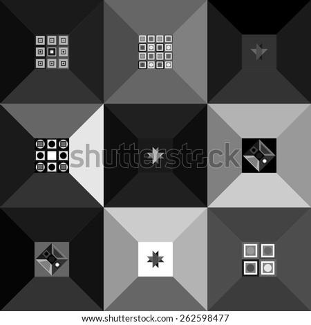 Set of white gray black patterns - stock vector
