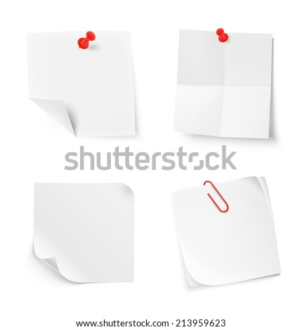 Set of white note papers on white background. Vector illustration. Template. Transparent shadows  - stock vector