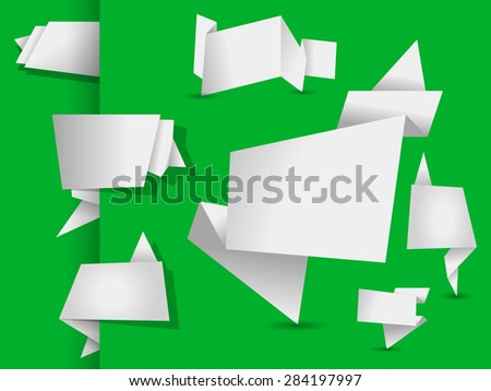 set of white origami tags, banners and labels on a green background - stock vector