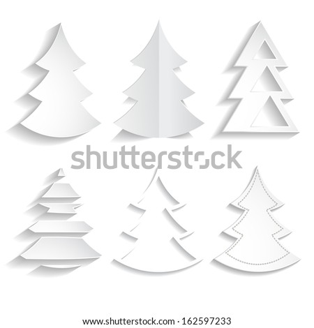 set of white paper Christmas trees - stock vector