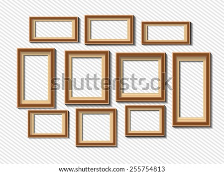 Set of white photo frames isolated on grey background - stock vector