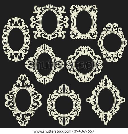 set of white round and oval vintage frames, design elements on black background - stock vector
