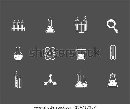 Set of white science and research icons on a grey background depicting laboratory glassware  flasks test tubes   magnifying glass  atom  crystal   thermometer and retort stand  vector illustration - stock vector