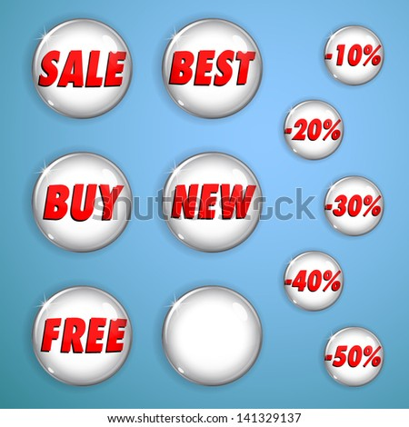 Set of white shiny buttons from glass for web design. With inscriptions on sales and discounts. - stock vector
