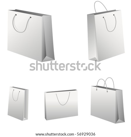 Set of white shopping bags. Vector illustration. - stock vector