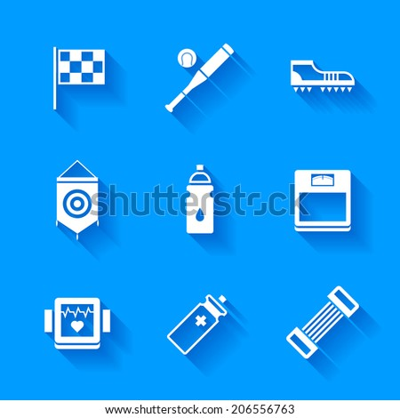 Set of white sports icons. Vector sport equipment in flat modern style with shadows. - stock vector