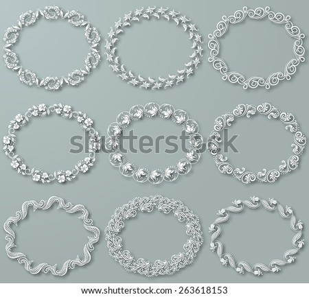 Set of white vector floral frames with shadows on the gray background. for design of invitation, greeting, gift card. Page decoration in vintage style. Vector illustration EPS10. - stock vector