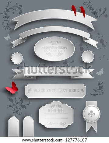 set of wight paper stickers, tags and calligraphic elements - stock vector