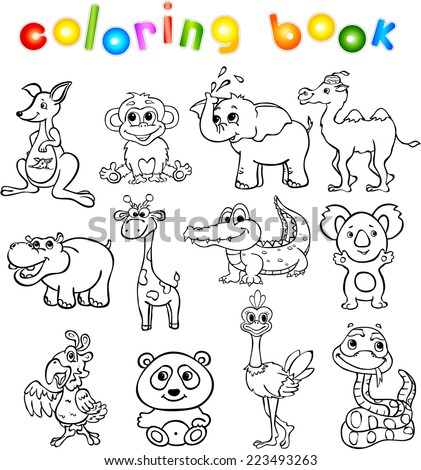 Set of wild animals third for children. Coloring book - stock vector