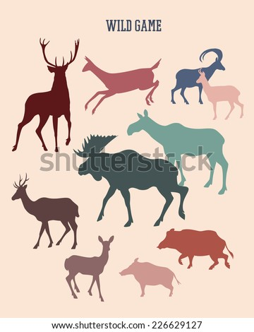 Set of wild game silhouettes made in vector in retro style. - stock vector