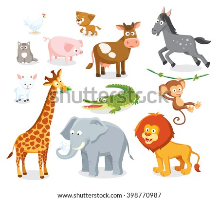 set of wild savannah, jungle  and farm animals - stock vector