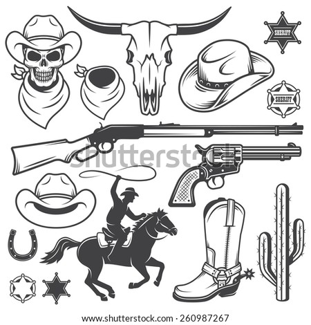 Set of wild west cowboy designed elements. Monochrome style - stock vector