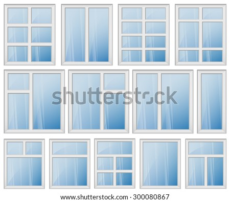 Set of windows with different design of frames. Shiny new windows with white frames. Vector image can be used for web, building booklet and posters, logo design and other interior printed products. - stock vector