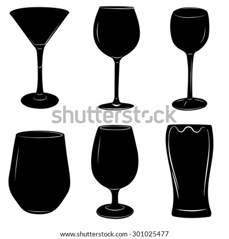 Set of wine and beer alcoholic beverages glasses vector illustration. - stock vector