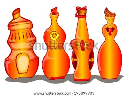 set of wine bottle cartoon illustration - stock vector
