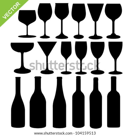 Set of wine bottles and glass silhouette vector - stock vector