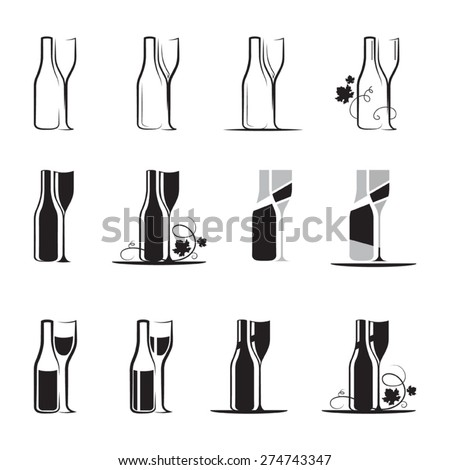 Set of wine glass and bottle silhouettes - stock vector