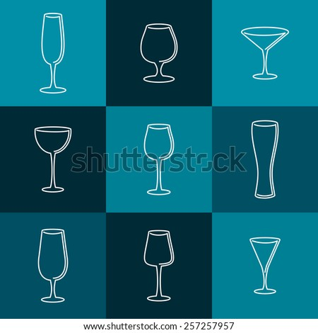 Set of wineglasses. Mono line logo design. Vector illustration - stock vector