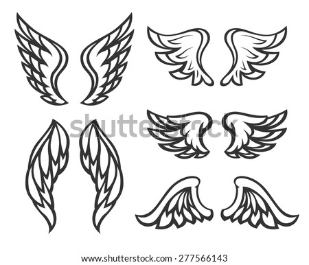 Set of wings tattoo. Eps8 vector illustration. Isolated on white background - stock vector