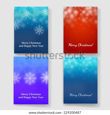 Set of winter Blurred Bokeh Background with Glow Snowflakes. Holiday Design for New Year Greeting Cards, Posters and Flyers. Vector.  - stock vector