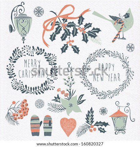 Set of Winter Christmas icons, elements and illustrations - stock vector