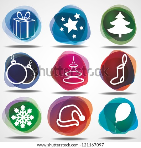 Set of winter christmas icons. Eps10 .Image contain transparency and various blending modes - stock vector
