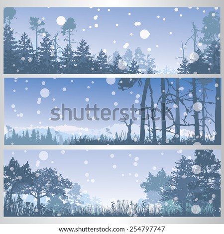 Set of winter forest banners. Vector illustration - stock vector