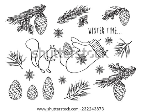 Set of winter pictures. Cones, spruce and pine spruce, squirrel. Isolated on white background. Merry Christmas. Happy New Year. Doodles. Hand drawing. Vector illustration. - stock vector