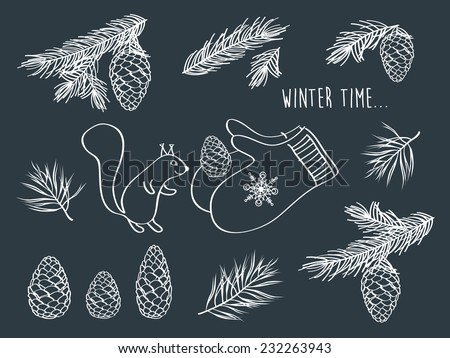 Set of winter pictures. Cones, spruce and pine spruce, squirrel. Merry Christmas. Happy New Year. Doodles. Hand drawing with chalk on a blackboard. Vector illustration. - stock vector