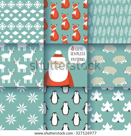 Set of winter seamless patterns with animals and decorative elements. Awesome holiday vector backgrounds. Christmas repeating textures for your surface design, wallpapers, fabrics, wrapping paper etc. - stock vector