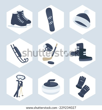 Set of winter sport vector icons in a cool blue in hexagonal frames showing ice skates, snowboard, toboggan, ice hockey, curling, skiing, snow boots and mitts - stock vector