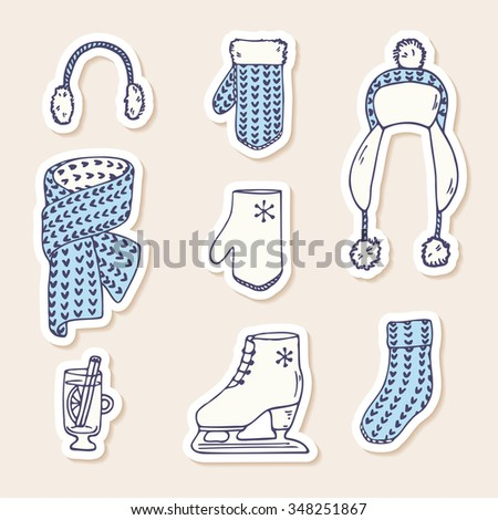 Set of winter stickers. Hand drawn knitted accessories. Cute clip art. Vector illustration - stock vector