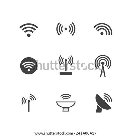 Set of Wireless Icons - stock vector