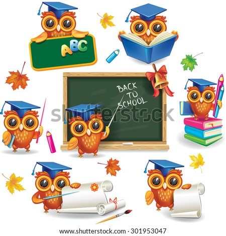 Set of wise owls in graduation caps - stock vector