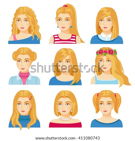 Set of woman faces with various hairstyle. Collection of young girls portraits. Different avatars of blonde girls. Vector illustration. - stock vector