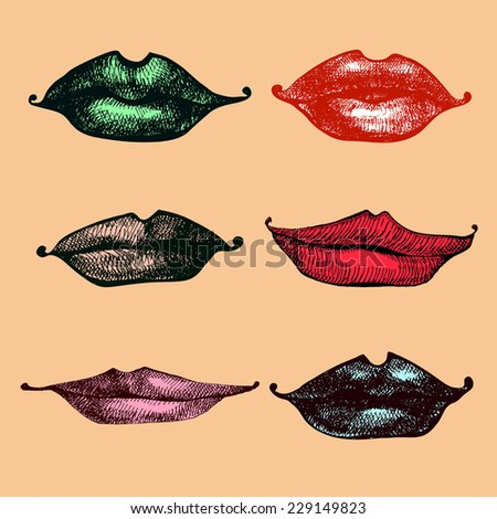 Set of woman lips in cartoon style.Vector illustration. - stock vector