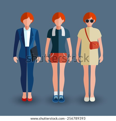 Set of women avatar : Flat Illustration - stock vector
