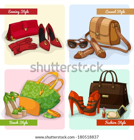 Set of women elegant bags shoes and accessories in evening fashion casual and beach style isolated vector illustration - stock vector