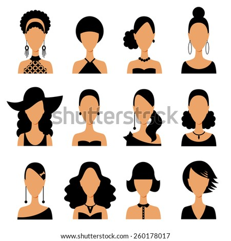 Set of women hair avatar icons in modern flat design. Vector illustration of various women character. - stock vector