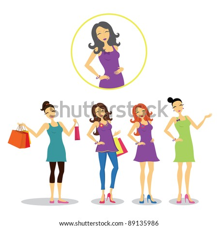 Set of women in different postures. - stock vector