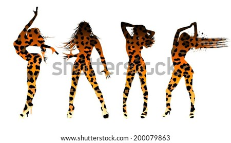 Set of women's silhouettes in leopard print - stock vector