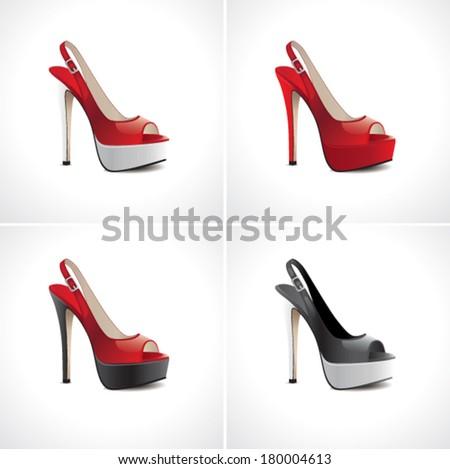 Set of women's summer shoes - stock vector