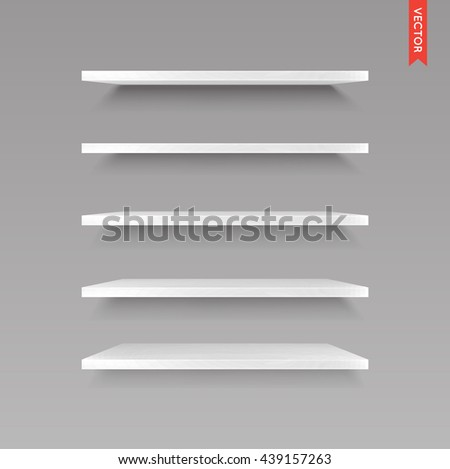 Set of Wood Shelves Vector Isolated on the Wall Background - stock vector