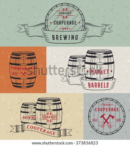 Set of wooden casks with alcohol drinks badges and cooperage logo. Collection of vintage logo template for beer house, bar, pub, brewing company, brewery, tavern, restaurant, winery, whiskey market. - stock vector